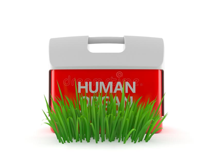 Refrigerador para el órgano humano en hierba ilustración del vector