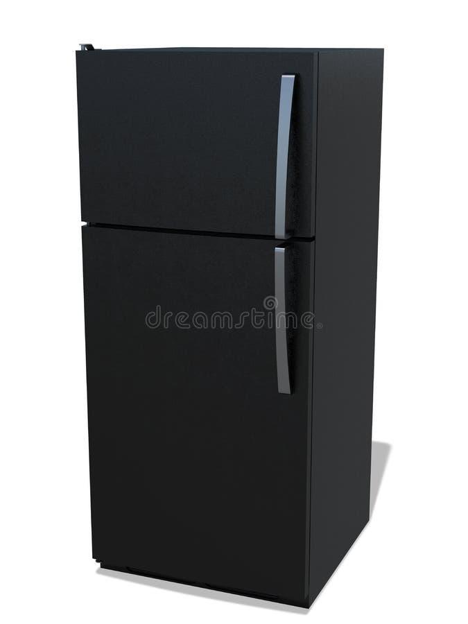 Refrigerador para el almacenamiento de la comida negro con el congelador stock de ilustración