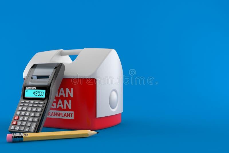 Refrigerador para o órgão humano com calculadora e lápis ilustração royalty free