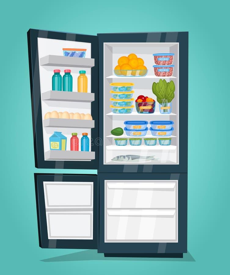 Refrigerador por completo de la comida colorida en diseño plano libre illustration
