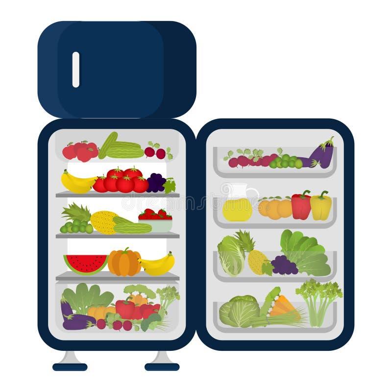 Refrigerador por completo de verduras y de frutas stock de ilustración