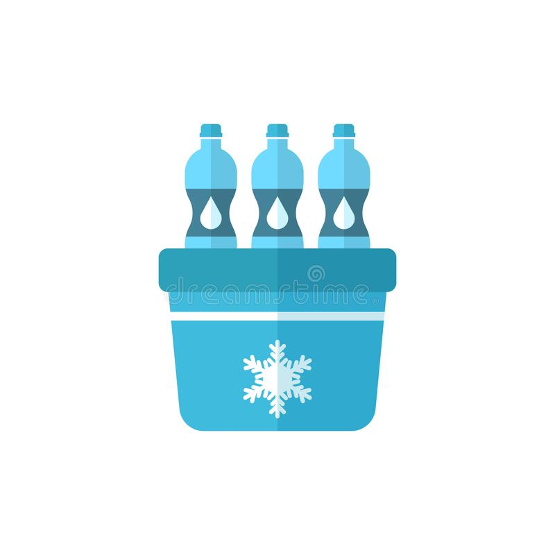 Refrigerador portátil del refrigerador con el icono de la botella de agua en styl plano stock de ilustración