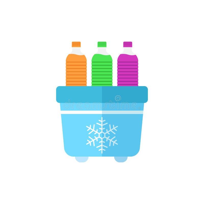 Refrigerador portátil del refrigerador con el icono de la botella de agua en styl plano libre illustration