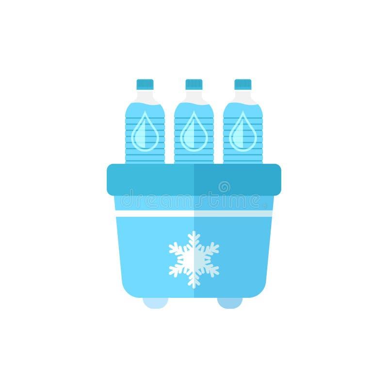 Refrigerador portátil del refrigerador con el icono de la botella de agua en styl plano ilustración del vector