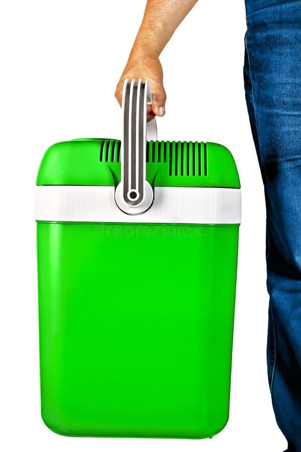 Refrigerador portátil verde para o curso imagens de stock