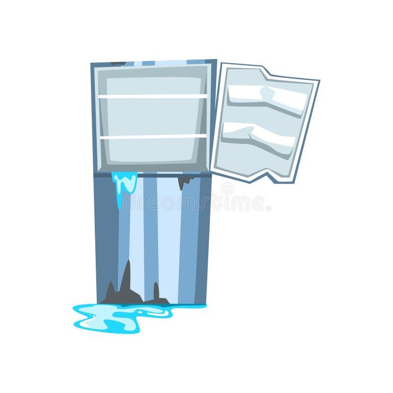 Refrigerador quebrado con agua que se escapa, ejemplo dañado del vector de la historieta del aparato electrodoméstico en un fondo ilustración del vector