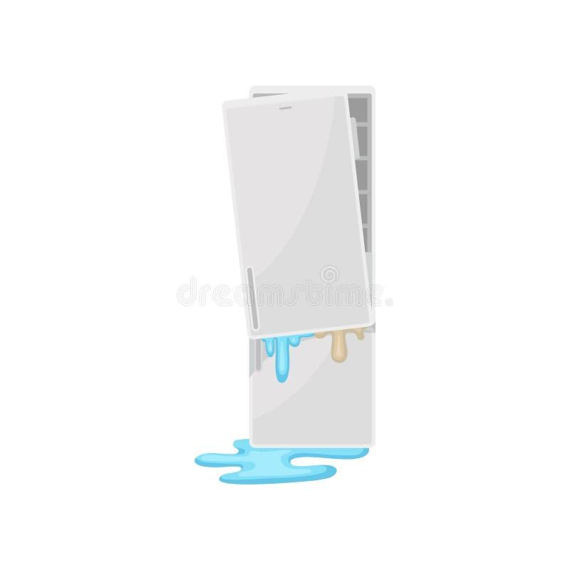 Refrigerador quebrado, ejemplo dañado del vector del aparato electrodoméstico en un fondo blanco stock de ilustración