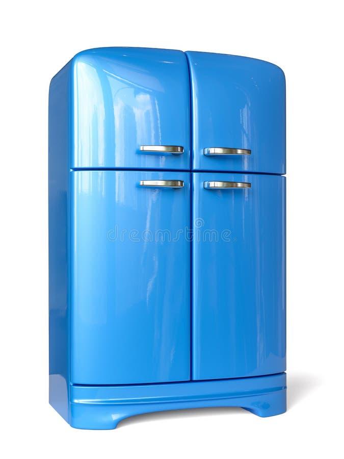 Refrigerador retro azul del refrigerador libre illustration