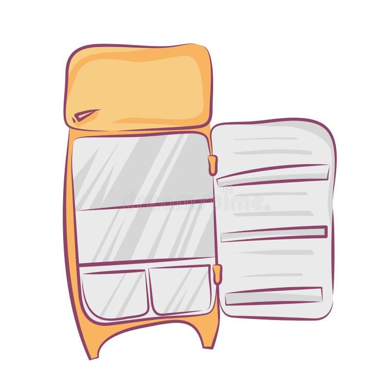 Refrigerador retro com porta aberta, estilo dos desenhos animados, ilustração do vetor isolada no branco ilustração do vetor