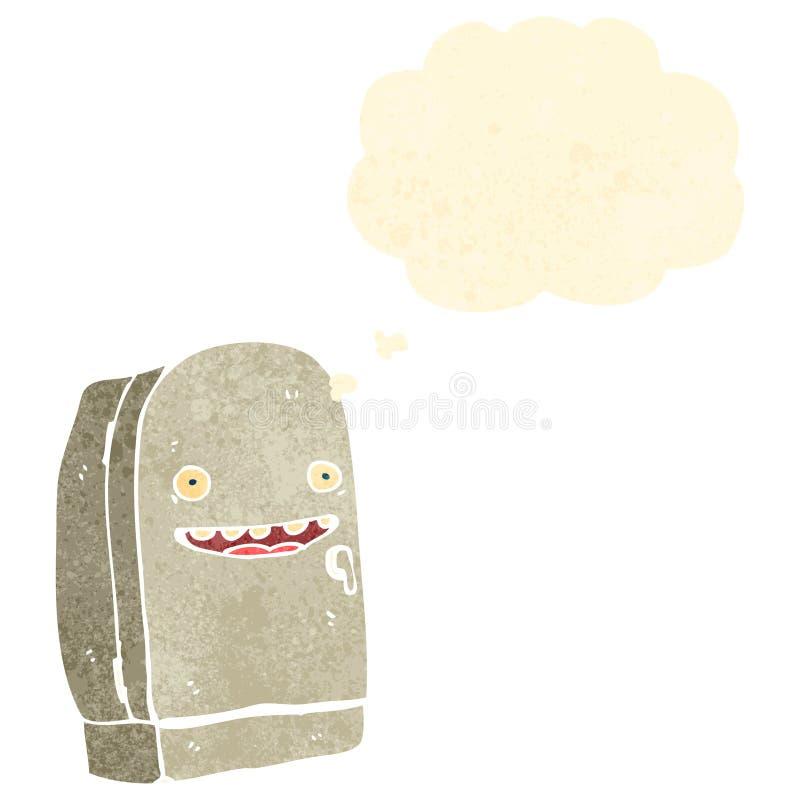 refrigerador retro de la historieta ilustración del vector
