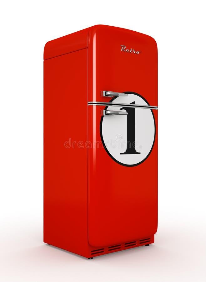 Refrigerador retro rendição branca isolada do fundo 3D ilustração do vetor