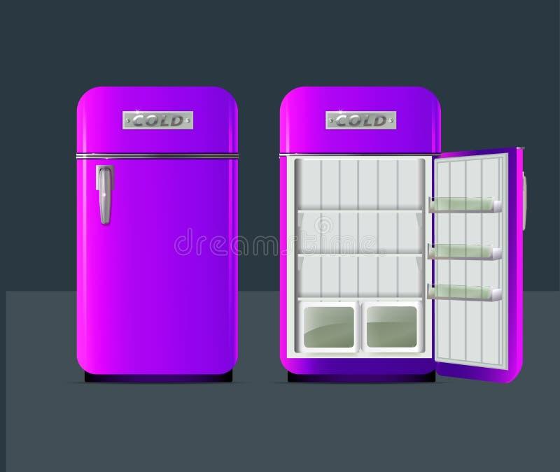 Refrigerador retro Vector Illusttration stock de ilustración