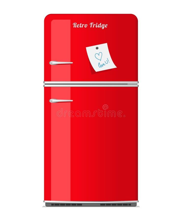 Refrigerador retro vermelho com nota de papel ilustração stock