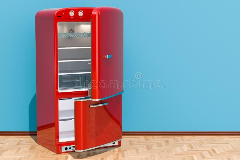 Refrigerador rojo abierto, diseño retro en el sitio en el piso de madera, 3D stock de ilustración