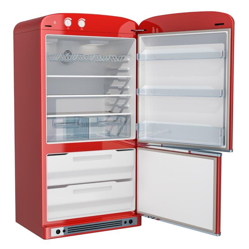 Refrigerador rojo abierto, diseño retro representación 3d ilustración del vector