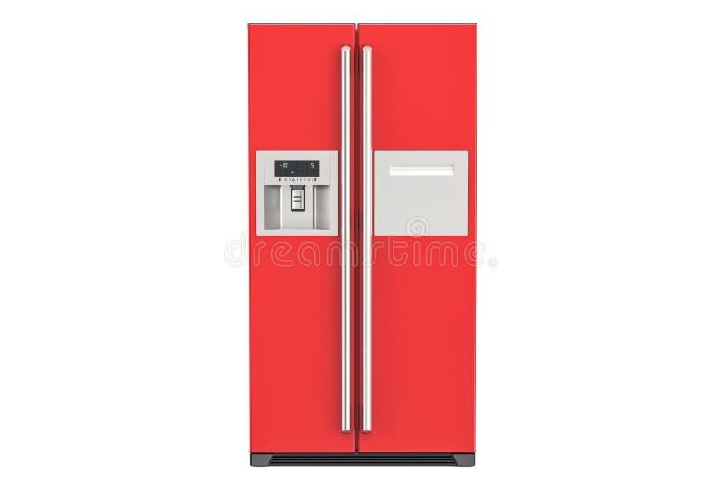 Refrigerador rojo con de lado a lado el sistema de la puerta, representación 3D libre illustration