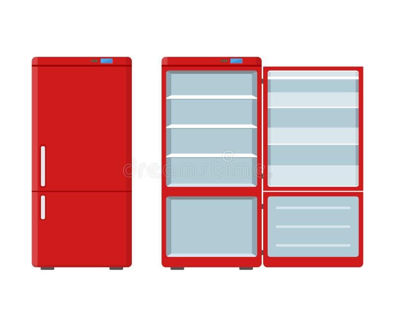 Refrigerador rojo de los aparatos electrodomésticos abierto y cerrado aislado en el fondo blanco Refrigerador del dispositivo ele ilustración del vector