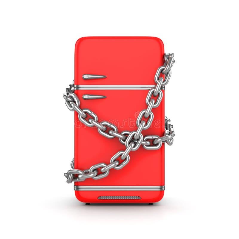 Refrigerador rojo del vintage cerrado con la cadena alrededor stock de ilustración