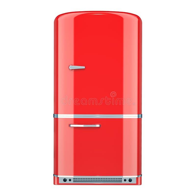 Refrigerador rojo, diseño retro representación 3d ilustración del vector