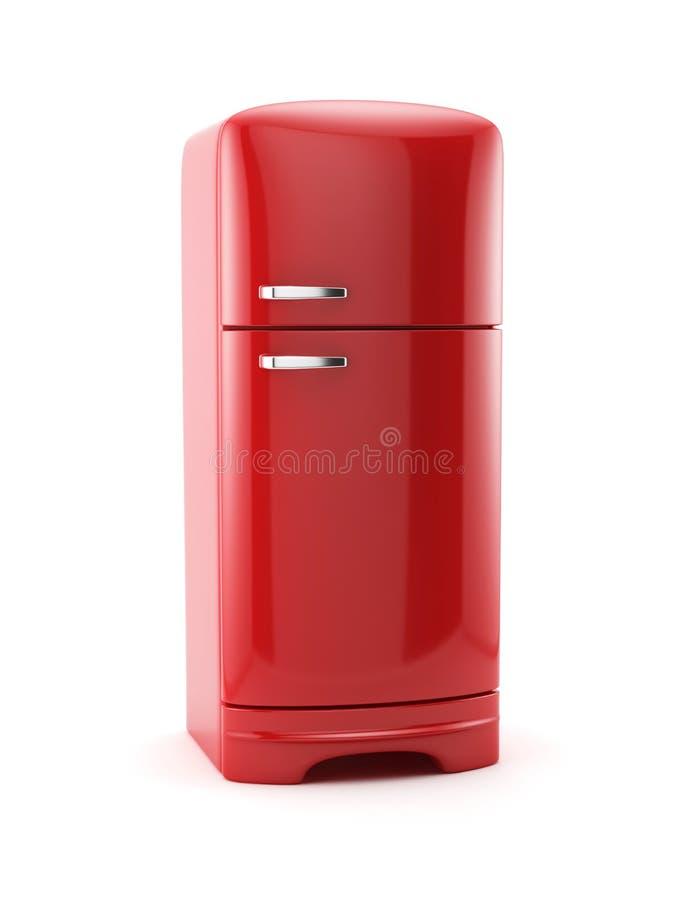 Refrigerador rojo retro del refrigerador aislado libre illustration