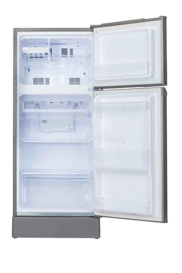 Refrigerador vacío abierto foto de archivo libre de regalías