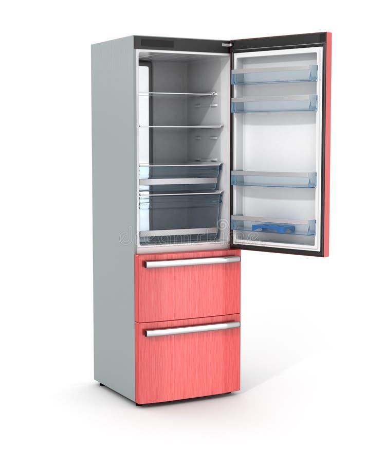 Refrigerador vacío abierto aislado imagen de archivo libre de regalías