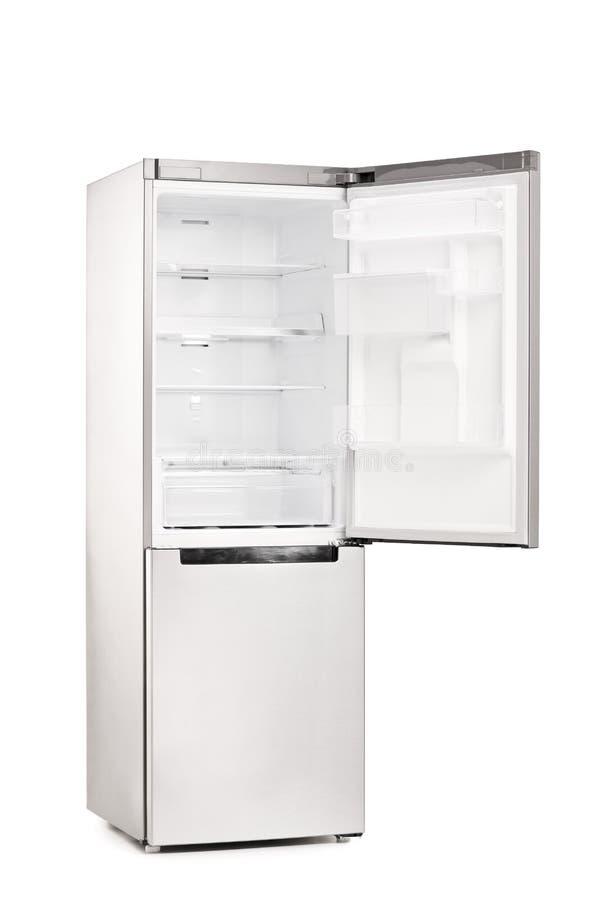 Refrigerador vacío con la puerta abierta imagen de archivo libre de regalías