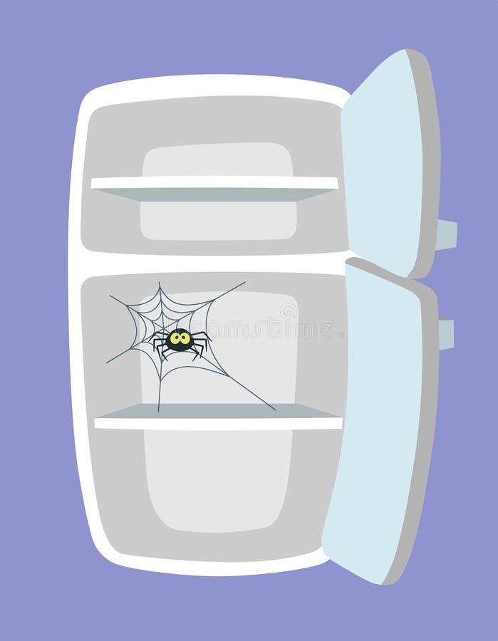 Refrigerador vacío Estilo de la historieta stock de ilustración