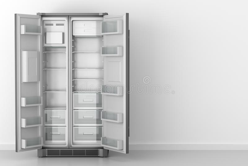 Refrigerador vazio moderno na frente da parede branca ilustração royalty free
