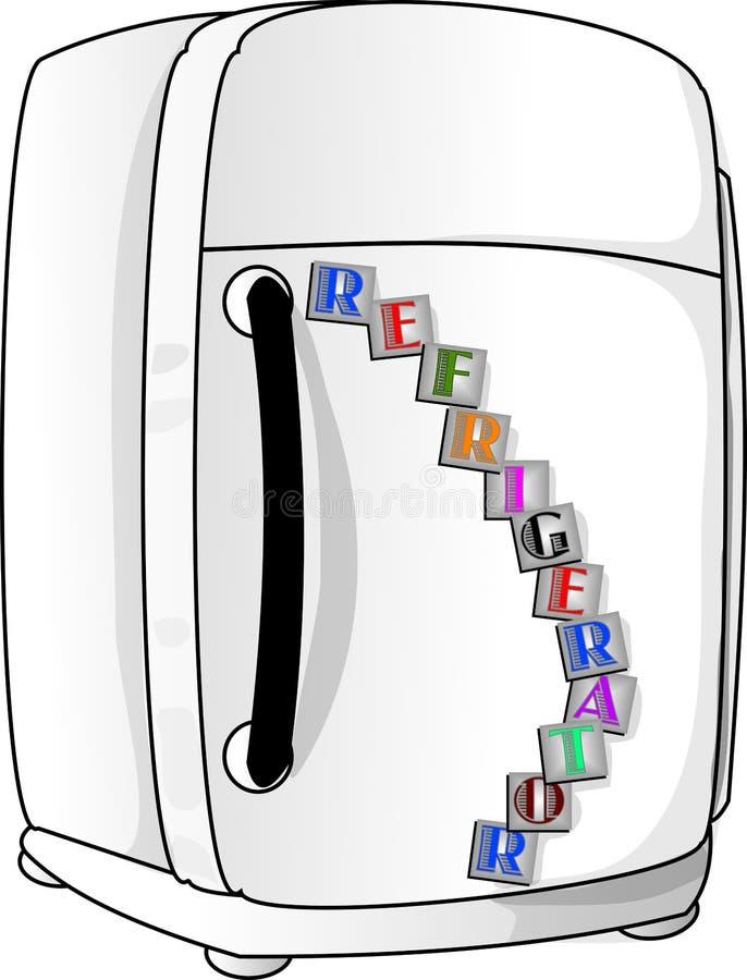 Refrigerador velho do branco da forma ilustração royalty free