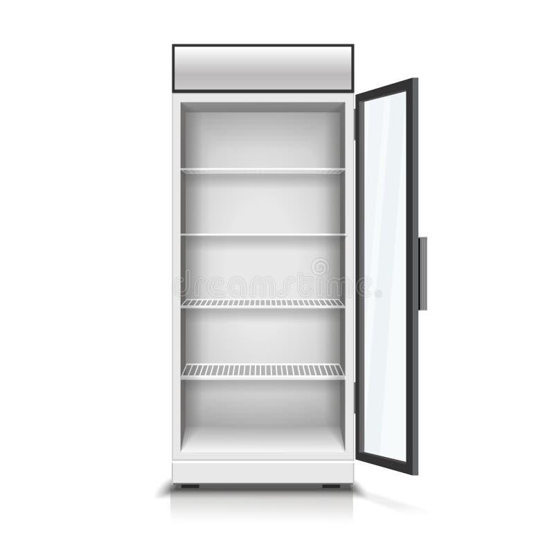 Refrigerador vertical moderno con el ejemplo transparente abierto del vector 3D del panel de delante stock de ilustración