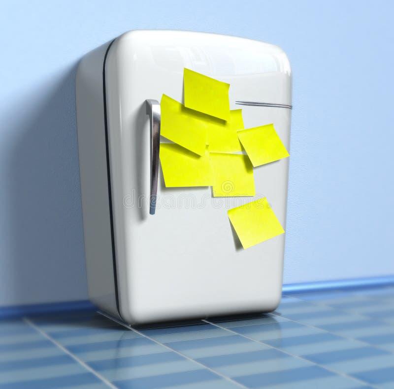 Refrigerador viejo con las etiquetas engomadas amarillas libre illustration