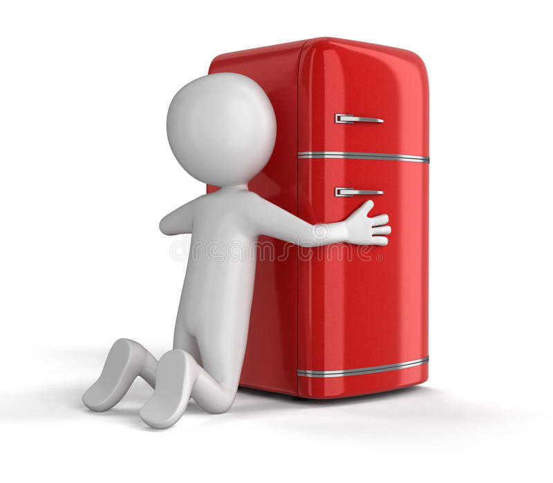 Refrigerador y hombre retros ilustración del vector