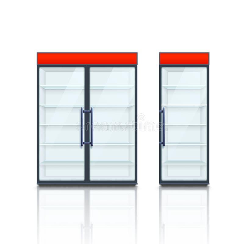 Refrigeradores comerciales de los pares con los tableros rojos libre illustration
