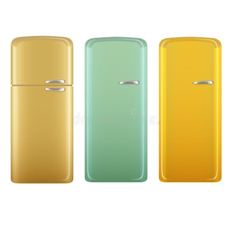 Refrigeradores retros realistas de la cocina del estilo fijados Beige, verde y amarillo Sistema del ejemplo del vector aislado en libre illustration