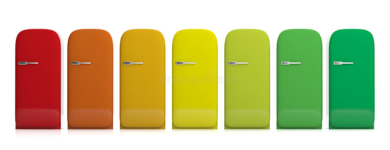 Refrigeradores y rendimiento energético Colores de los refrigeradores del vintage diversos aislados en el fondo blanco, vista del ilustración del vector