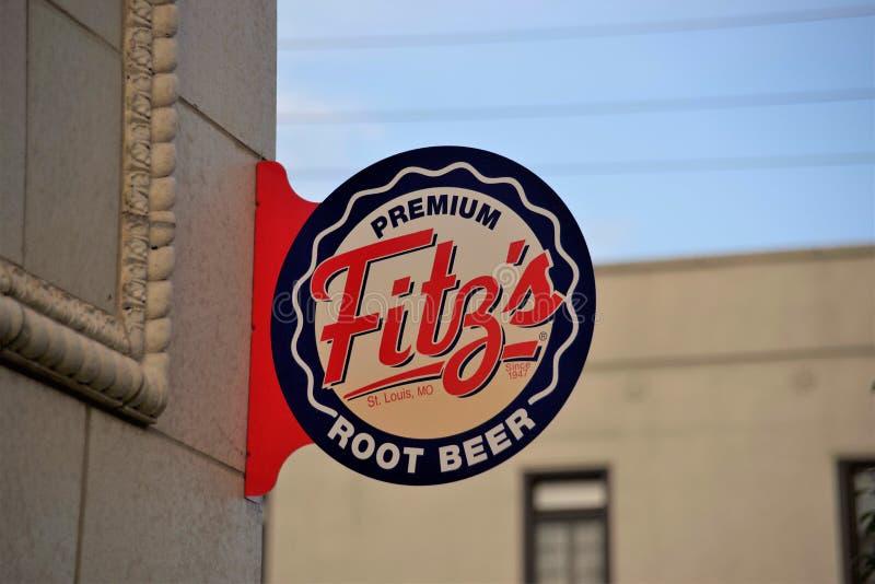 Refrigerante root beer do ` s de Fitz e restaurante, St Louis, Missouri foto de stock