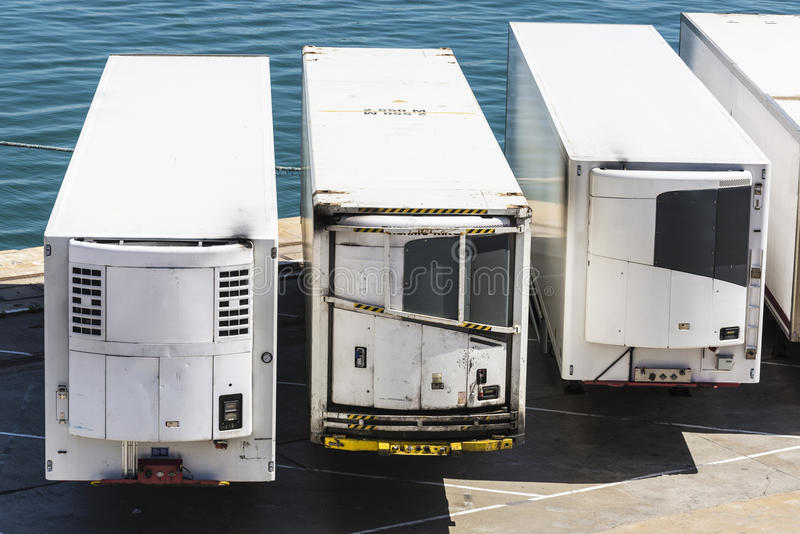 Refrigerated containers. Reefer containers waiting to board at the port of Barcelona, Catalonia, Spain stock image