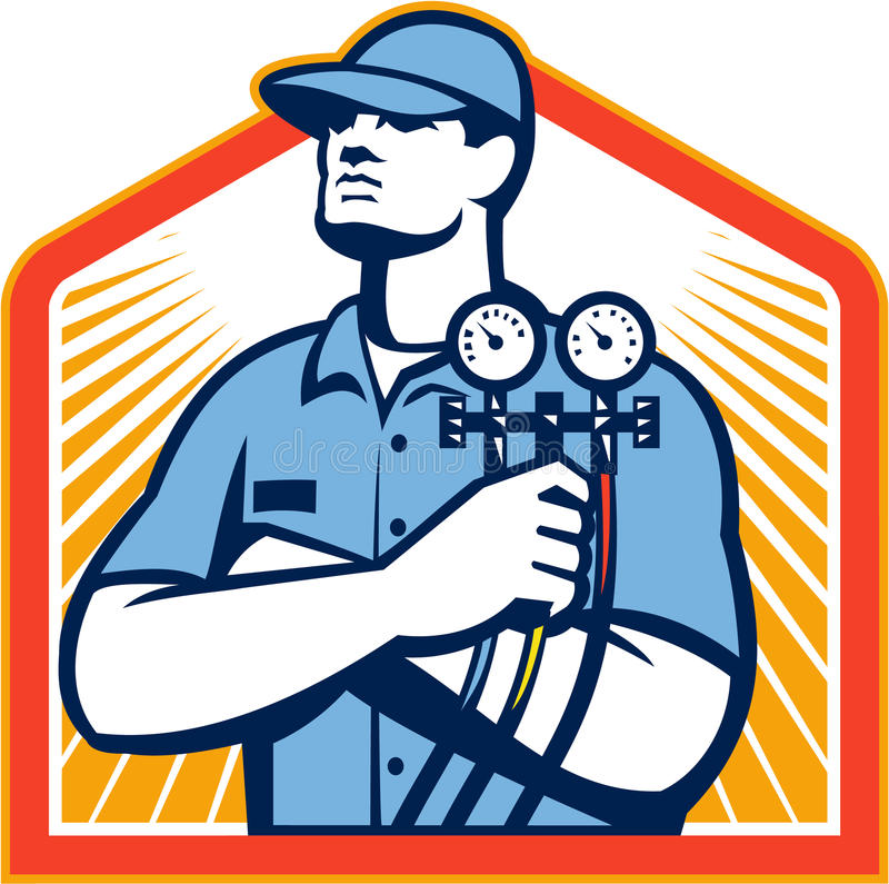 Refrigeration Air Conditioning Mechanic Front. Illustration of a refrigeration and air conditioning mechanic holding a pressure temperature gauge front view set vector illustration