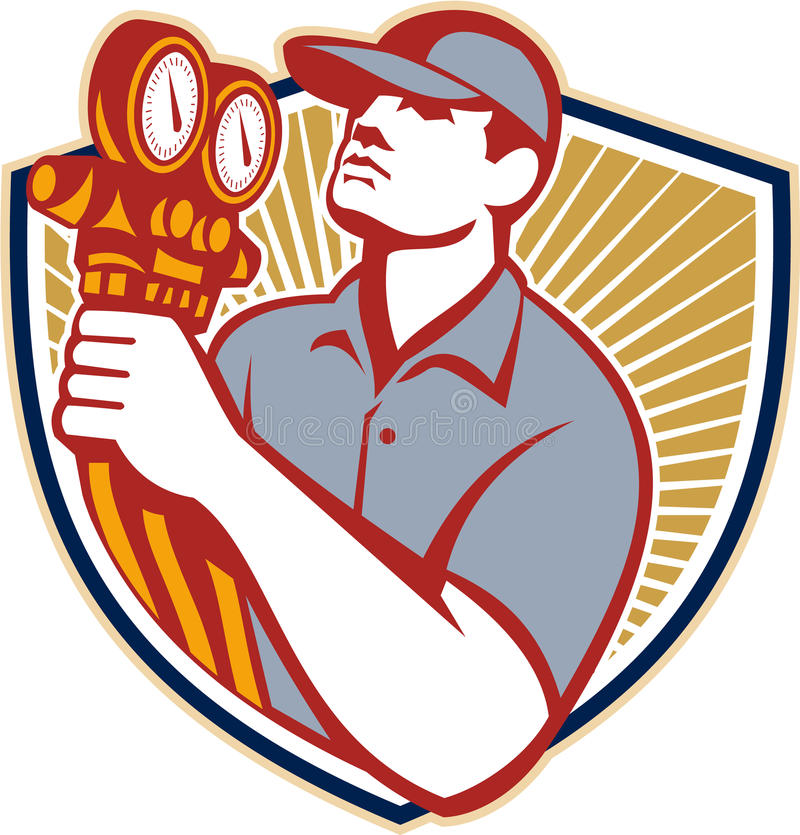 Refrigeration Air Conditioning Mechanic Shield. Illustration of a refrigeration and air conditioning mechanic holding a pressure temperature gauge front view set vector illustration