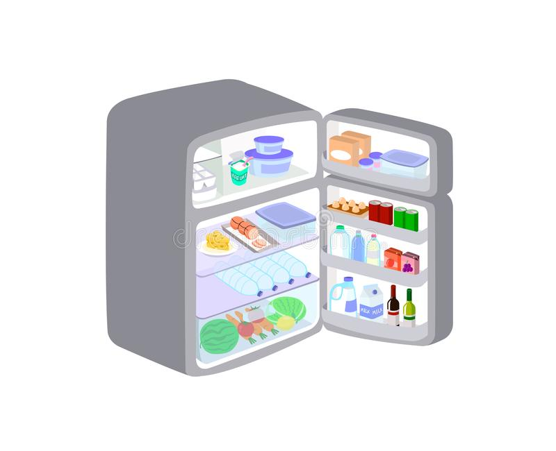 Grey refrigerator was opened the door isolated on white background. Refrigerator keeps fruits and food to maintain freshness. stock illustration