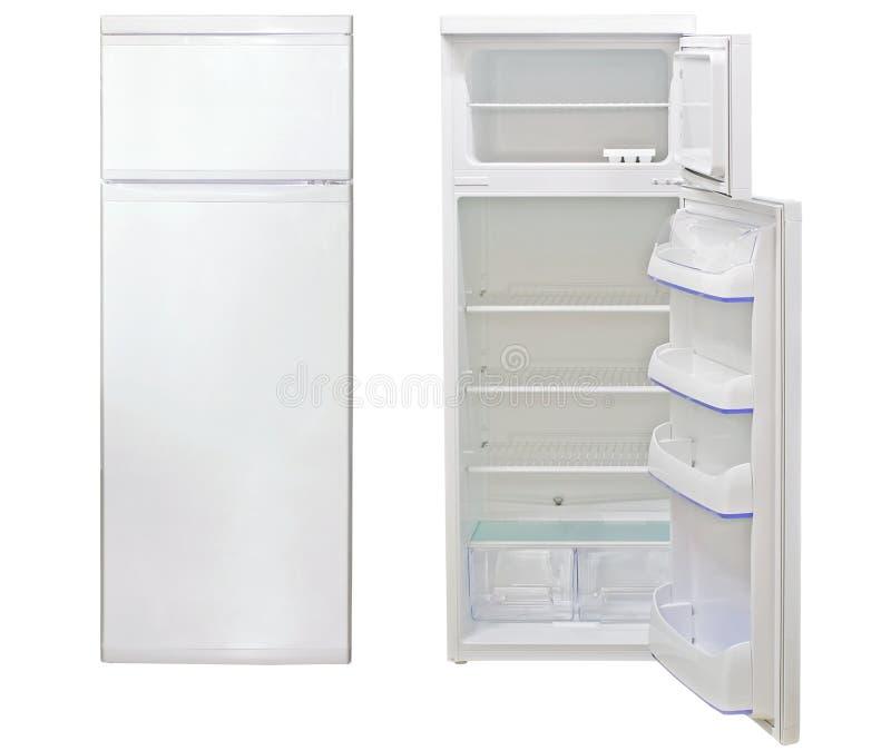 Refrigerator. Closed and open empty refrigerator