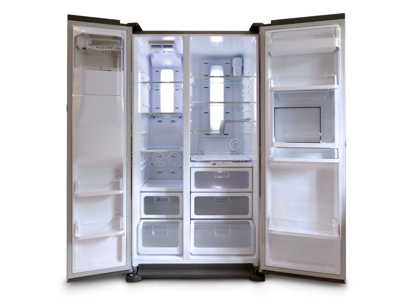 Refrigerator. Empty fridge freezer with both doors open stock photo