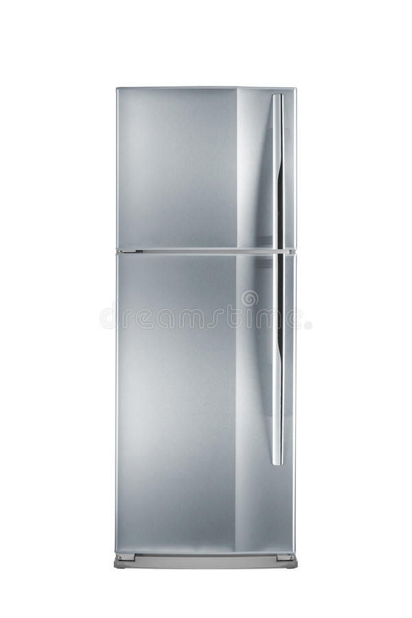 Refrigerator. Clipping path of the double door freezer stock image