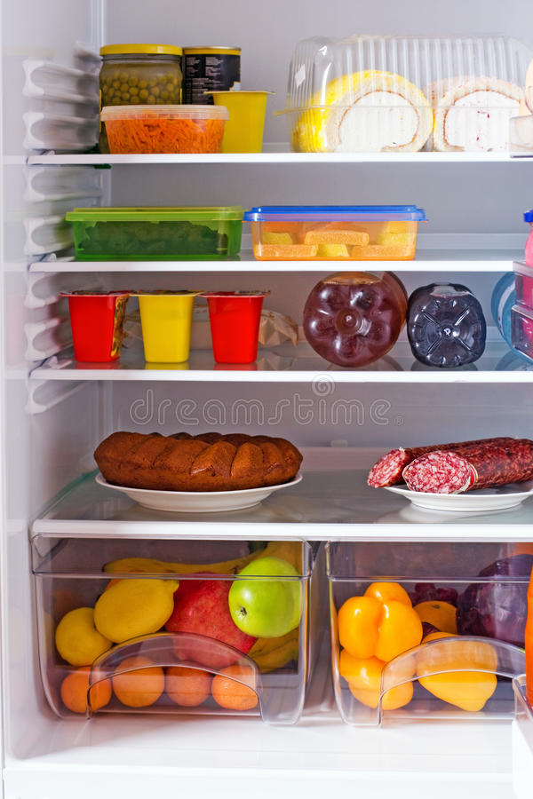 Refrigerator With Food Stock Image