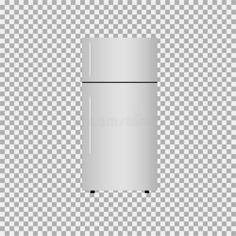 Refrigerator, fridge icon on grey background vector illustration