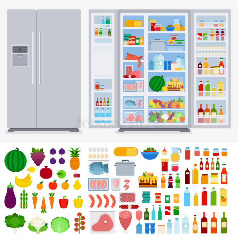 Refrigerator full of different products royalty free stock image