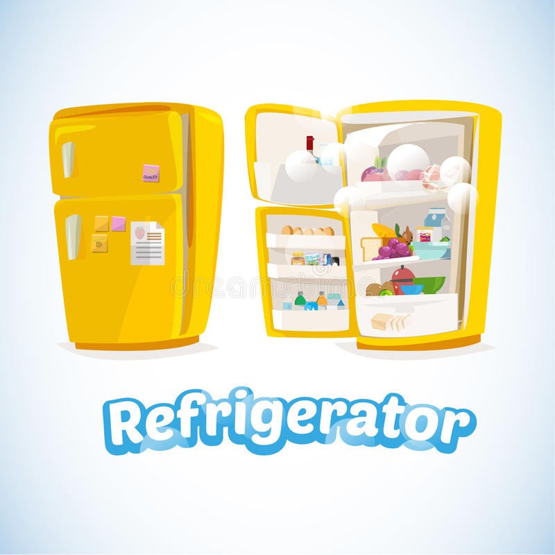 Refrigerator with Full Of Food. Closed and Opened.cute and cartoon style. cool ice typographic design. kitchen concept - Vector vector illustration
