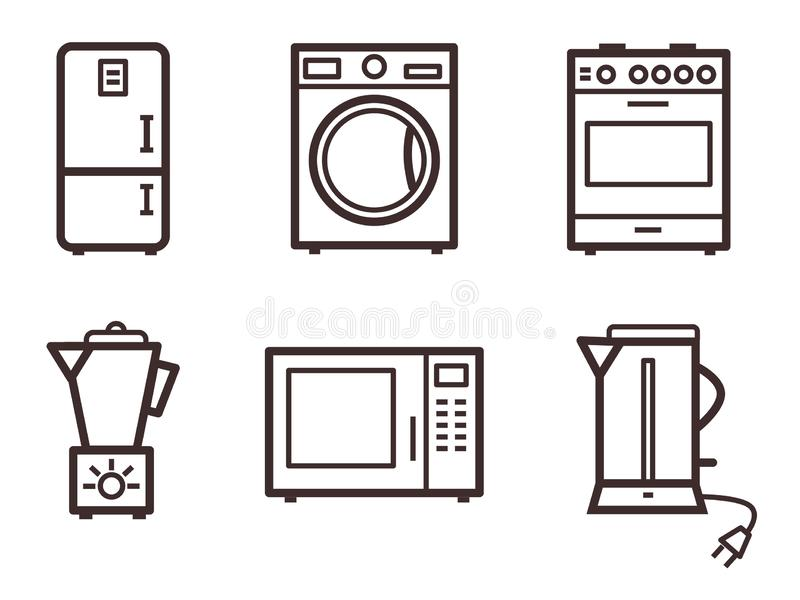 Refrigerator, kettle, coffee grinder, washing machine, microwave and gas stove. stock images