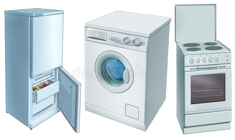 Refrigerator, washing machine, electric-plate royalty free illustration